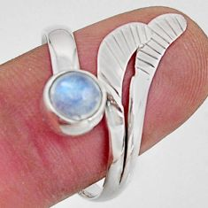 Natural rainbow moonstone 925 silver solitaire adjustable ring size 9.5 r16115