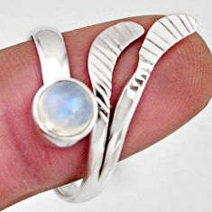 1.30cts natural rainbow moonstone silver solitaire adjustable ring size 9 r16117