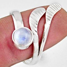 1.21cts natural rainbow moonstone silver solitaire adjustable ring size 9 r16119