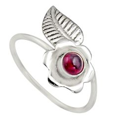 0.51cts natural red garnet 925 silver solitaire adjustable ring size 9 r16125
