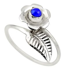 0.51cts natural lapis lazuli 925 silver solitaire adjustable ring size 8 r16126