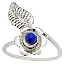 0.51cts natural lapis lazuli silver solitaire adjustable ring size 7.5 r16127