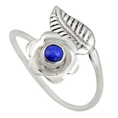 0.50cts natural lapis lazuli silver solitaire adjustable ring size 9.5 r16128
