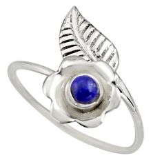 0.51cts natural blue lapis lazuli silver solitaire adjustable ring size 9 r16129