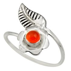 0.51cts natural orange cornelian silver solitaire adjustable ring size 9 r16130