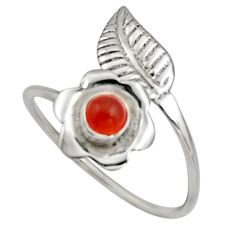 0.47cts natural orange cornelian silver solitaire adjustable ring size 10 r16131