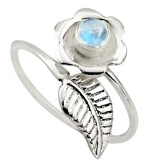 0.50cts natural rainbow moonstone silver solitaire adjustable ring size 9 r16135