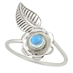 0.50cts natural rainbow moonstone silver solitaire adjustable ring size 8 r16136