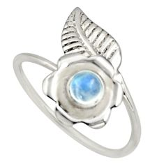 0.51cts natural rainbow moonstone silver solitaire adjustable ring size 8 r16137
