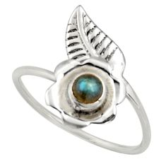 925 silver 0.51cts natural labradorite solitaire adjustable ring size 9.5 r16138