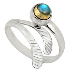925 silver 1.30cts natural labradorite solitaire adjustable ring size 10 r16140