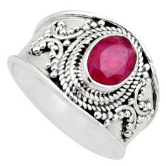 2.01cts natural red ruby 925 sterling silver solitaire ring size 8 r16143