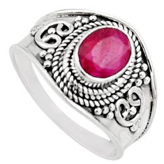 925 sterling silver 2.02cts natural red ruby oval solitaire ring size 8.5 r16144