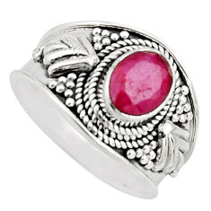 2.11cts natural red ruby 925 sterling silver solitaire ring size 8 r16145