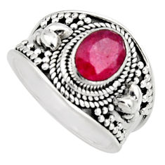 2.02cts natural red ruby 925 sterling silver solitaire ring size 7 r16147