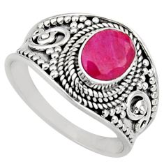 2.02cts natural red ruby 925 sterling silver solitaire ring size 8 r16149