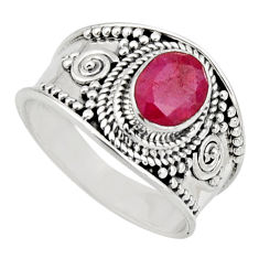 2.01cts natural red ruby 925 sterling silver solitaire ring size 8 r16150