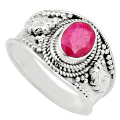 1.96cts natural red ruby 925 sterling silver solitaire ring size 8.5 r16153