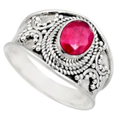 1.96cts natural red ruby 925 sterling silver solitaire ring size 8 r16154
