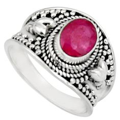 2.11cts natural red ruby 925 sterling silver solitaire ring size 7.5 r16155