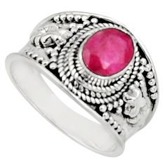 2.20cts natural red ruby 925 sterling silver solitaire ring size 7.5 r16156