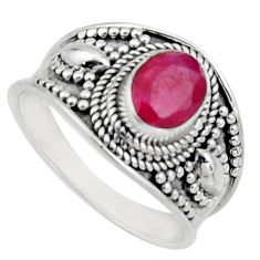 2.09cts natural red ruby 925 sterling silver solitaire ring size 9 r16158