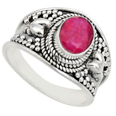 925 sterling silver 2.12cts natural red ruby oval solitaire ring size 7 r16159