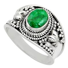 1.96cts natural green emerald 925 sterling silver solitaire ring size 8.5 r16161