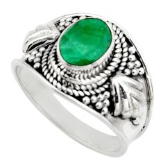 2.02cts natural green emerald 925 sterling silver solitaire ring size 7 r16162