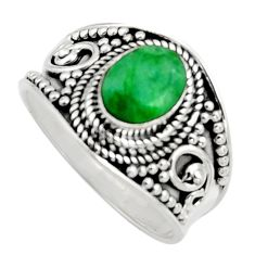 2.01cts natural green emerald 925 sterling silver solitaire ring size 8 r16163