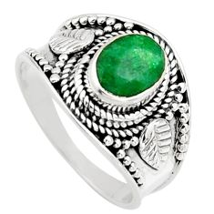 925 sterling silver 2.13cts natural green emerald solitaire ring size 7.5 r16164
