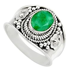 2.12cts natural green emerald 925 sterling silver solitaire ring size 8 r16165
