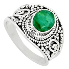1.99cts natural green emerald 925 sterling silver solitaire ring size 7 r16166