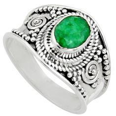 1.96cts natural green emerald 925 sterling silver solitaire ring size 8 r16167