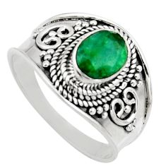 2.12cts natural green emerald 925 sterling silver solitaire ring size 8.5 r16169