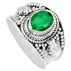 2.11cts natural green emerald 925 sterling silver solitaire ring size 7 r16171