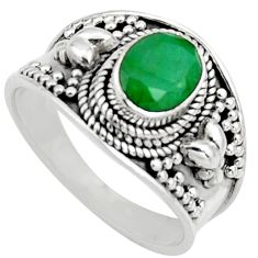 925 sterling silver 2.11cts natural green emerald solitaire ring size 8 r16172