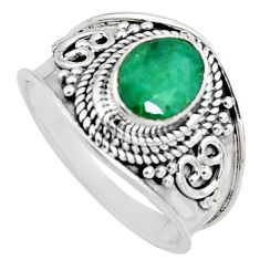 2.01cts natural green emerald 925 sterling silver solitaire ring size 7 r16173
