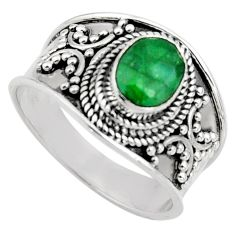 2.01cts natural green emerald 925 sterling silver solitaire ring size 8 r16174
