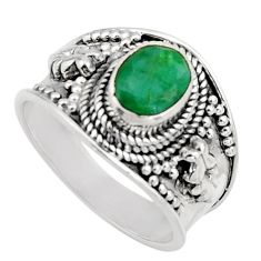 925 sterling silver 1.93cts natural green emerald solitaire ring size 7.5 r16175