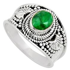 1.96cts natural green emerald 925 sterling silver solitaire ring size 9 r16176