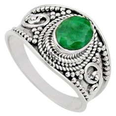 2.11cts natural green emerald 925 sterling silver solitaire ring size 8.5 r16177