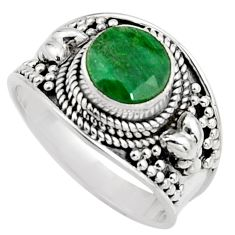 925 sterling silver 2.35cts natural green emerald solitaire ring size 7.5 r16178