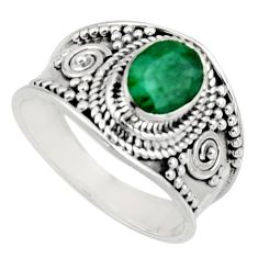 2.01cts natural green emerald 925 sterling silver solitaire ring size 8 r16179