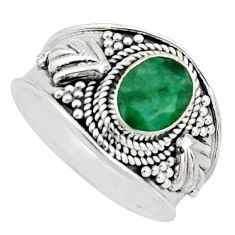 925 sterling silver 2.11cts natural green emerald solitaire ring size 7 r16180