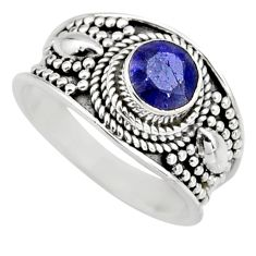 0.94cts natural blue sapphire 925 sterling silver solitaire ring size 7 r16181