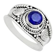 925 sterling silver 0.86cts natural blue sapphire solitaire ring size 8 r16184