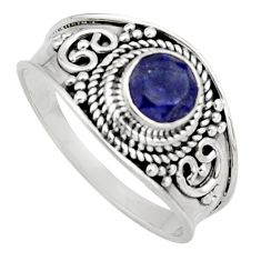0.81cts natural blue sapphire 925 sterling silver solitaire ring size 9 r16187