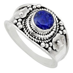 925 sterling silver 0.81cts natural blue sapphire solitaire ring size 7 r16189