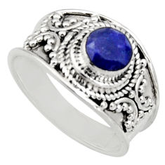 0.94cts natural blue sapphire 925 sterling silver solitaire ring size 7 r16191